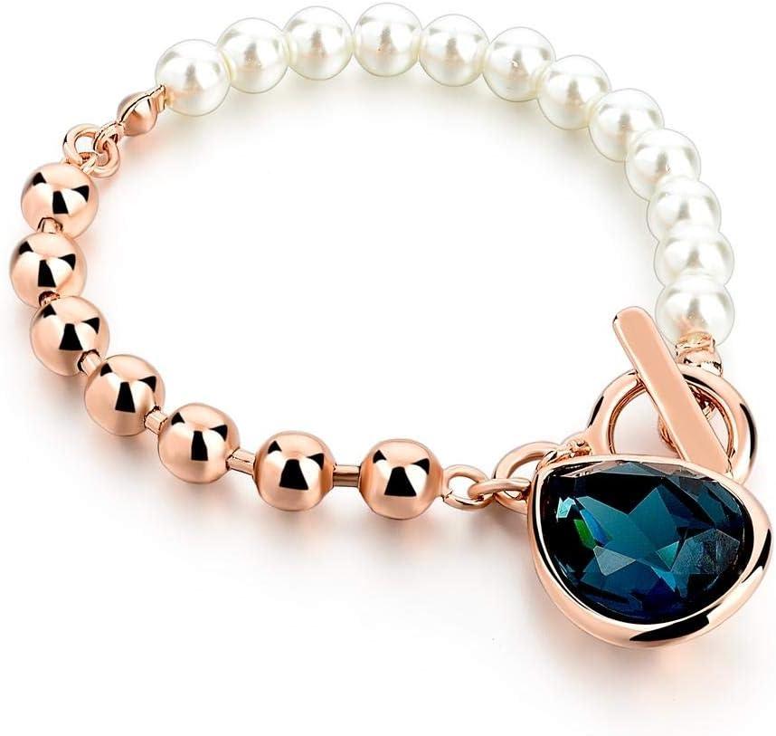 Magssdy Pulsera Elegante imitación de Piedras Preciosas Pulsera de Cristal Azul Perlas de imitación Pulseras de Color Oro Rosa Joyas de Boda