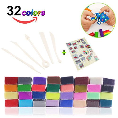 32 Colors Polymer Clay, Magic Soft Molding Craft Oven Baking Clay kit with DIY Tools and (Design Polymer Clay)