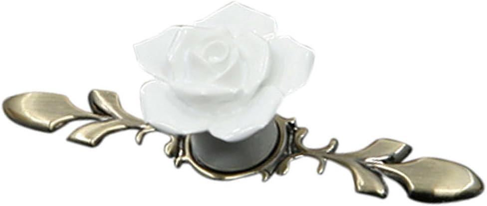 Fenteer Rose Keramik M/öbelgriffe T/ürgriffe Schrankgriffe M/öbelknopf Griffe Kn/öpfe Rot 119mm