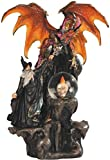 StealStreet SS-G-71368 Black Wizard Fighting Orange Dragon with Skull Crystal Ball LED Statue