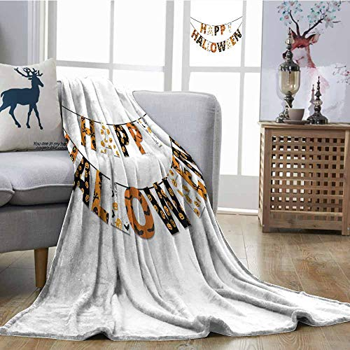 SONGDAYONE Home Throw Blanket Happy Halloween Banner Greetings