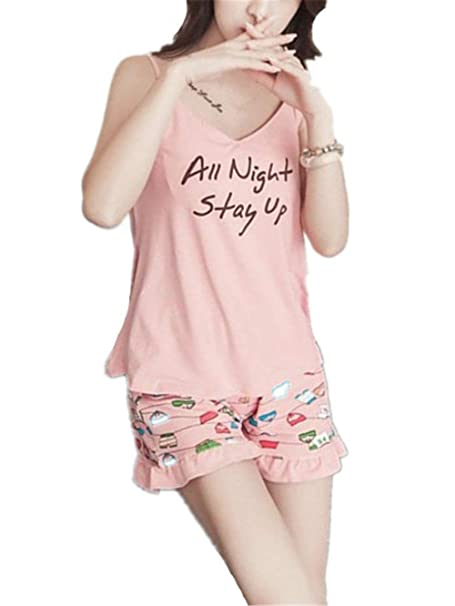 Mujer Batas Camisola + Shorts Dos Piezas Verano Estampadas Conjunto De Pijama Fashion Elegantes Clásico Sleeveless V-Cuello Ropa De Dormir Pijamas Mujeres ...