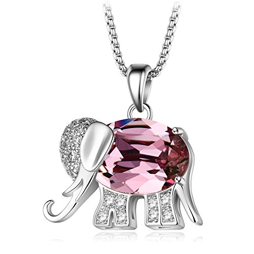 Kalapure Sterling Silver Lucky Elephant Pendant Necklace Made with Swarovski Crystals for Women Girlfriend Birthday Gift ()