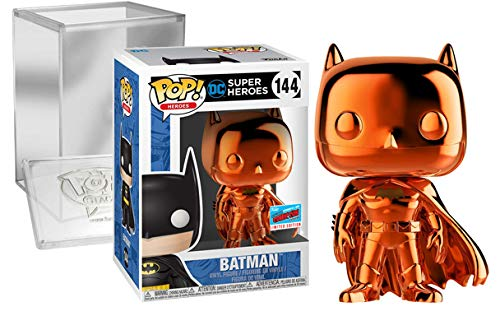 Funko Pop! Bundle: Batman (Orange Chrome, 144), NYCC 2018 Exclusive Limited Edition, with Pop! Stacks Protector