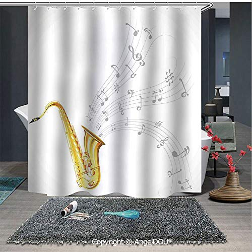 AngelDOU Jazz Music Decor Fashion Styles Printed Shower Curtain Illustration of Wavy Music Tune from Saxophone Solo Party Beat Fun Art Home Deco for Home Hotel Club Bathroom Decoration