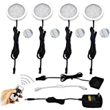 Best to Buy 4-pack LED Under Cabinet Lighting, Puck Lights kits and 11Key Remote 100-240V Adapter Controller 5050 Warm white 2700-3000K,Indoor