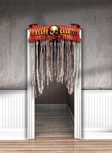 Amscan Creepy Carnival Doorway Halloween Trick or Treat Curtain (1 Piece), Multicolor, 54