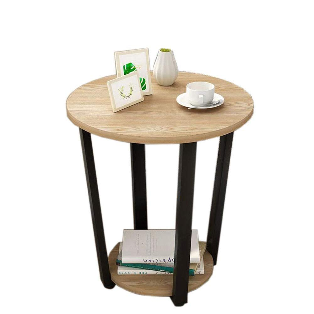 B+white bracket 19.6822.44in JCAFA Shelves End Side Table with Storage Nightstand Coffee Table Round Table Easy to Install for Bedroom Living Room 4 colors (color   C+Black Bracket, Size   19.68  22.44in)