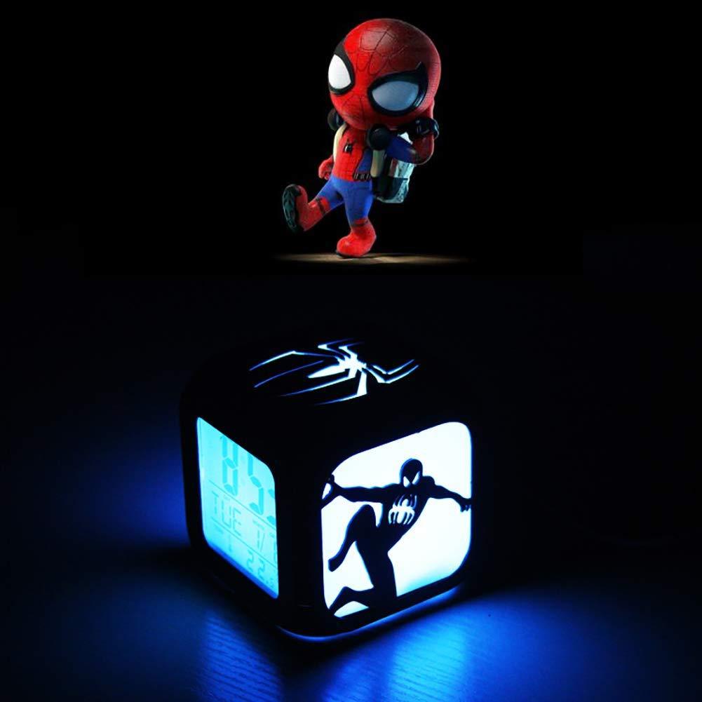 FV-cuerd Spider-Man Creative 3D Reloj Despertador Estéreo LED Luz Nocturna Reloj Despertador Electrónico (Siete Colores) - Carga USB: Amazon.es: Hogar
