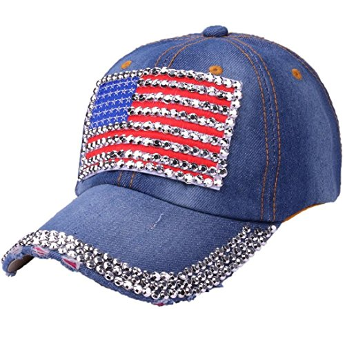 USA Bling Baseball Cap, Women Girls Sparkle Studded Rhinestone American Flag Denim Baseball Hat Jeans Rock Cap Adjustable - Studded Flag