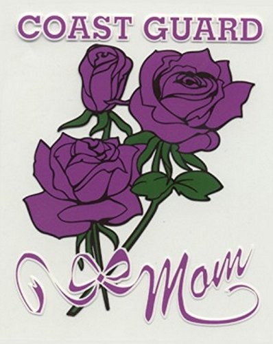 Coast Guard Mom with Roses Decal Sticker