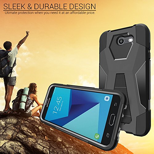 Amazon.com: MINITURTLE Phone Case Compatible w/ J7 2017, J7 Perx, and Galaxy J7 Sky PRO [SHOCK FUSION Hybrid Series] Silicone Interior / Hard Shell with ...