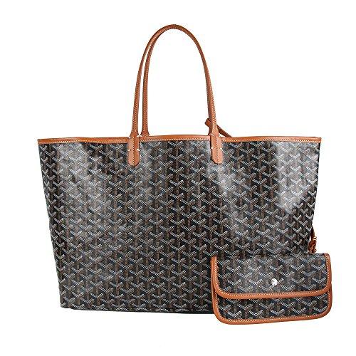High Fashion Tote Handbag (Stylesty High Grade Fashion Design Pu Shopping Shoulder Tote Bag Set Handbags with Coin Pouch (Medium, Black Brown))