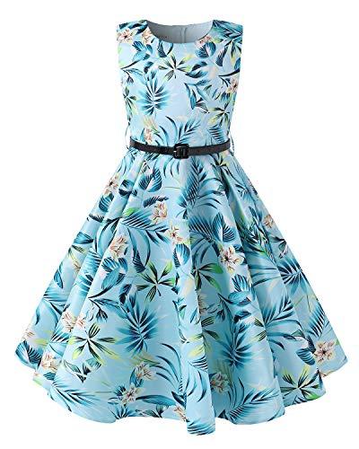 Kidsform Girls Summer Dress Floral 1950 Vintage Party Rockabilly Swing Dresses Casual Sleeveless A-Line Sundress Sky Blue 9-10Y