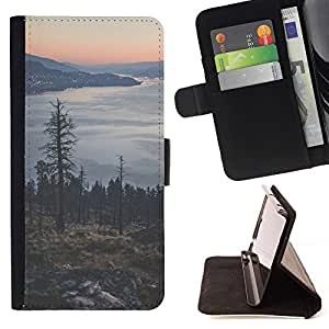 Momo Phone Case / Flip Funda de Cuero Case Cover - Árbol Lago Mountain City Lights - Samsung ALPHA G850
