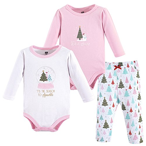 Hudson Baby Baby Bodysuit and Pant Set, Sparkle Trees, 6-9 Months (9M)