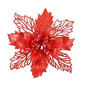 VORCOOL Artificial Poinsettia Flowers,6 Pcs Christmas Floral Glittering Hollow for Xmas Tree Window Door 53