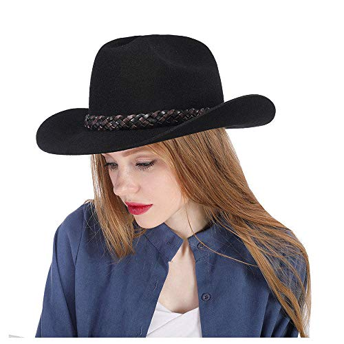 HXGAZXJQ Vintage Black Bailey Hat Cowboy Hat 100% Wool Felt Women's Small Cassidy Crown Country Western Wear Outback Style (Color : Black, Size : 57-58cm) ()