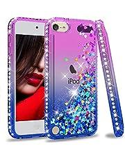 iPod Touch 7 Case, iPod Touch 6 Case, iPod Touch 5 Case for Girls, LeYi Glitter Liquid Clear Phone Case for Apple iPod Touch 7th/ 6th/ 5th Gen Purple/Blue