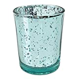 Just Artifacts Mercury Glass Votive Candle Holder 2.75'' H (72pcs, Speckled Aqua) - Mercury Glass Votive Tealight Candle Holders for Weddings, Parties and Home Décor