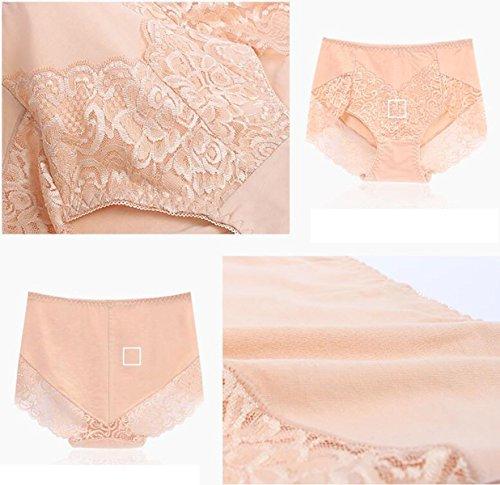 POKWAI 4 Bolsas De Ropa Interior Color Puro Tela De Algodón De La Cintura Calzoncillos Pantalones Mujeres Atractivas Del Cordón A5
