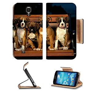 Five Puppy Boxers Portrait Bench Family Samsung Galaxy S4 Flip Cover Case with Card Holder Customized Made to Order Support Ready Premium Deluxe Pu Leather 5 1/2 inch (140mm) x 3 1/4 inch (80mm) x 9/16 inch (14mm) MSD S IV S 4 Professional Cases Accessori
