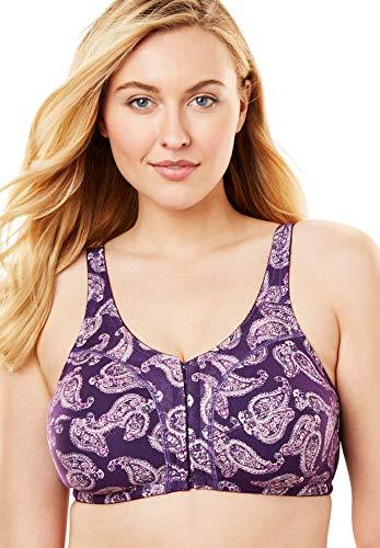 - Comfort Choice Women's Plus Size Cotton Front-Close Wireless Bra - Rich Violet Paisley, 44 B