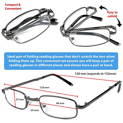 1c53b05e11 Amazon.com  Reading Glasses Set of 2 Fashion Folding Readers with Leather  Cases Brown and Gunmetal Glasses for Reading for Men and Women +1  Clothing