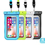 LENPOW Waterproof Case, New Type PVC IPX8 Water proof Phone Pouch, Universal Clear Cell Phone Dry Bag for iPhone X 8 7 6s 6 Plus, Samsung Galaxy s9 s8 s7 , Google Pixel, LG, HTC (4-Pack)