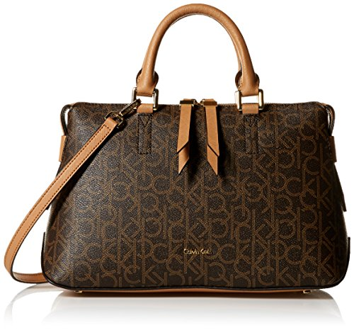 Calvin Klein Maggie Monogram Signature Satchel, Brown/Khaki by Calvin Klein