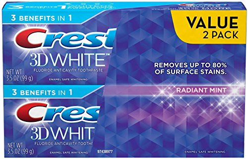 Price comparison product image Crest 3D White Fluoride Anticavity Whitening Toothpaste, Radiant Mint, 2 Count