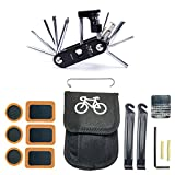 WOTOW Bike Repair Set Bag Bicycle Multi Function 16 in 1 Tool Kit Hex Key Wrench Tire Patch Lever (No Glue Included)