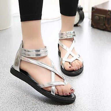 LvYuan Mujer-Tacón Plano-Confort-Sandalias-Vestido Informal-PU-Negro Plata Silver