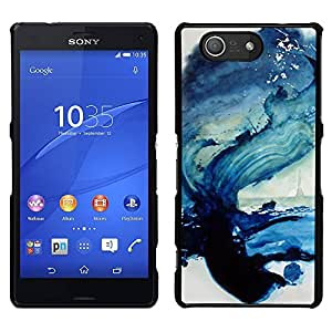 LECELL--Funda protectora / Cubierta / Piel For Sony Xperia Z3 Compact -- Paint Sea Wave Ocean Blue Art --