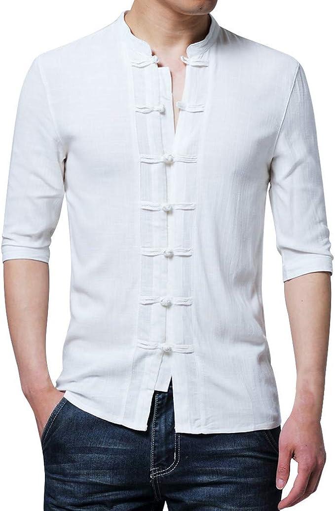 PARVAL Hombre Camisa Vintage de Media Manga para Hombre Camiseta ...