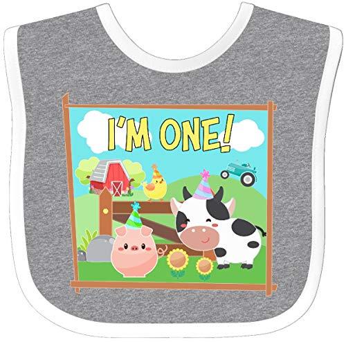Inktastic - I'm One! Farm Animals Wearing Birthday Baby Bib Heather/White 36529