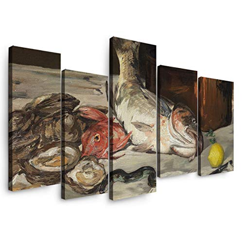 5 Panels Canvas Print Wall Art - European Painting Édouard Manet - Fish(Still Life) - Wall Decor Pictures for Living Room Modern Artwork Stretched and Framed Ready to Hang (8X164+8X24In) ()