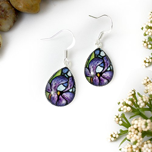 Purple Iris Flower Glass Teardrop Earrings