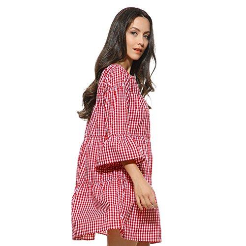vestidos de fiesta cortos Switchali mujer diariamente moda Vestido a cuadros Verano Suelto Vestido de celosía vestido de novia casual de mujeres de senora atractivo Vestido para mujer ropa Rojo