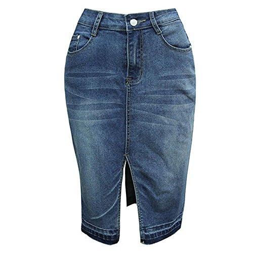 Femmes Sexy Stretch Denim Jupe Filles Haute Taille Jupe Crayon Mini Jeans Au Dessus Genou Style Casual Dcontract Bleu fonc