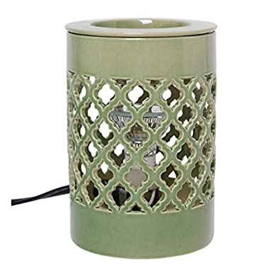 Hosley Candle Company Green Ceramic Electric Fragrance Tart/ Cube Wax, Fragrance Oil Warmer
