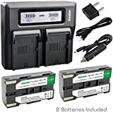 Kastar Fast Dual LCD Charger + 2x Battery for Samsung SB-L160 VP-L3000 VP-L4000 VP-L500 VP-L520 VP-L530 VP-L550 VP-L600 VP-L610 VP-L630 VP-L650 VP VP-W63 VP-W70 VP-W70U VP-W80 VP-W87 VP-W90 MD9014