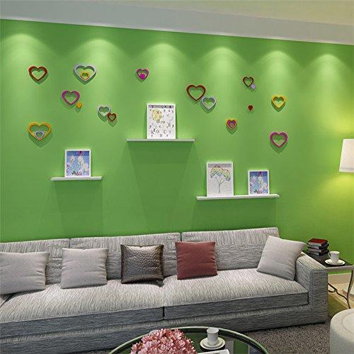 5Pcs 10 Colors DIY Heart Shape Wall Stickers Decal Acrylic Home Wall Door Bedroom Decor (Random: Color)