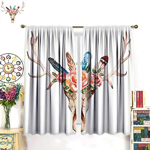 (Antler Decor Queen Size Blackout Curtain Bohemian Deer Head Skull Decorated with Roses and Feathers Hand Drawn Art Customized Curtains Multicolor W72 x L63 inch)