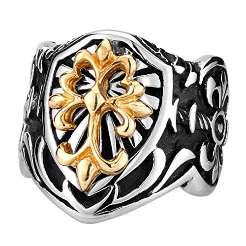 LILILEO Jewelry Retro King Of The Sword Medieval Knight Shield Ring For Men's -
