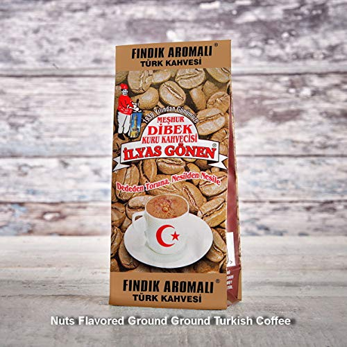 ilyas Gonen Dibek Ground Turkish Coffee/Plain Dibek and 19 Different Flavored (100g / 3,5oz) (Nuts Flavored Ground Turkish Coffee) -  Dibek Kuru Kahve