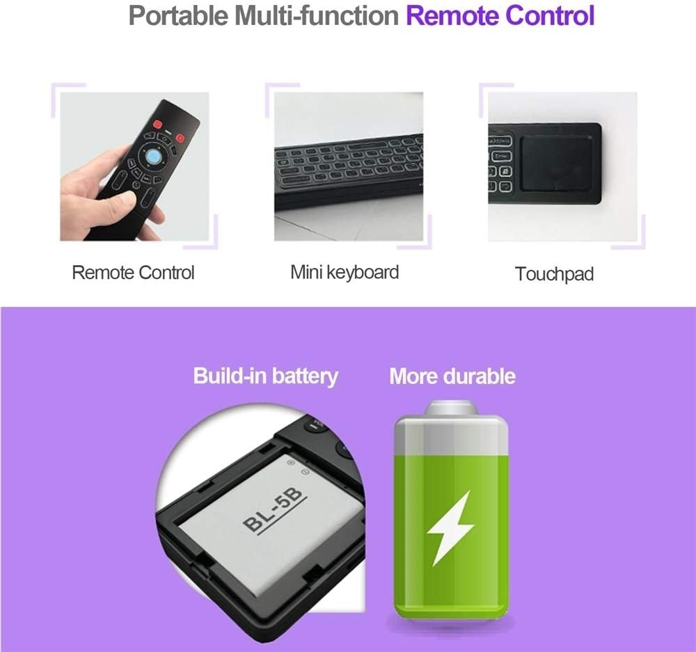 Calvas Mini T6-L 2.4GHz Wireless QWERTY Keyboard Air Mouse Handheld Remote Control 6 Gxes Gyroscope for Mini PC TV Box Color: T6-C