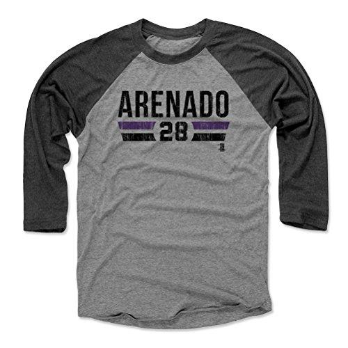 500 LEVEL Nolan Arenado Baseball Tee Shirt Medium Black/Heather Gray - Colorado Baseball Raglan Shirt - Nolan Arenado Font K
