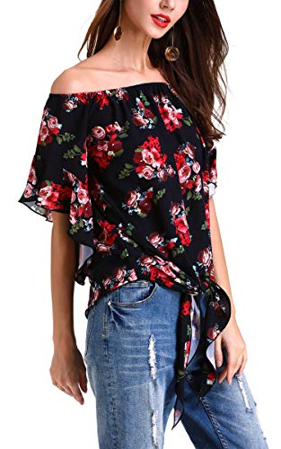 Hibluco Women's Fashion Off Shoulder Tops Sexy Floral Print Crop Tops