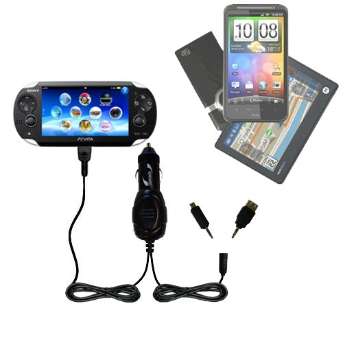 Double Port Micro Gomadic Car / Auto DC Charger suitable for the Sony Playstation Vita - Charges up to 2 devices simultaneously with Gomadic TipExchange Technology